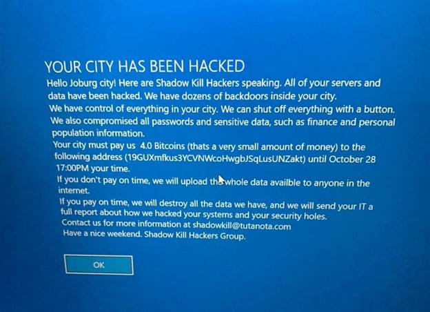 Image result for city of joburg website hacked