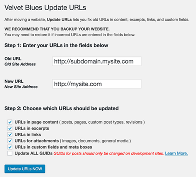 Moving WordPress Subdomain to Root using Velvet Blues Update URLs plugin