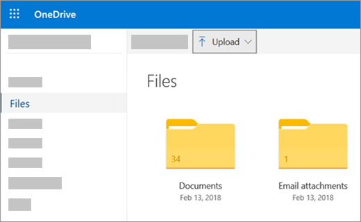 Upload files or pictures in OneDrive