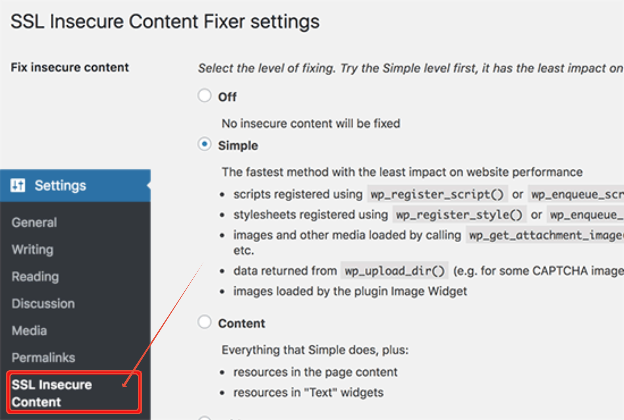 SSL secure content plugin settings