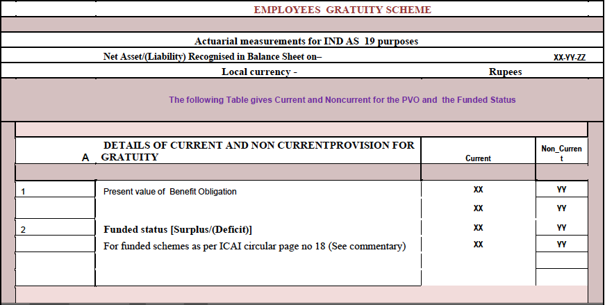 Current and Non-current provisions for gratuity