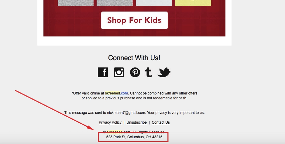 Example of an Address in an Email Footer