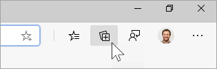 Screenshot of the Collections button on the taskbar