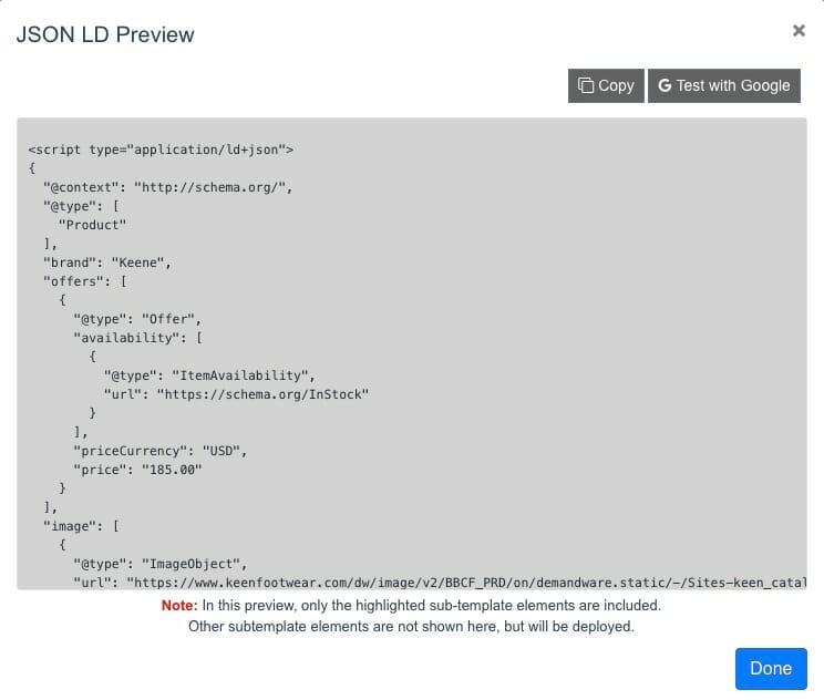 View JSON LD and Test with Google