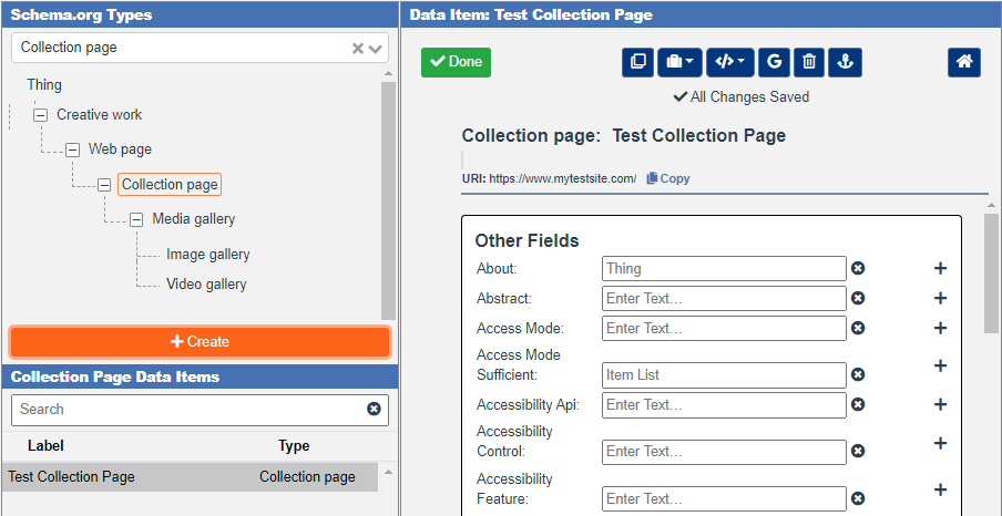 Create a Collection Page data item in the Schema App Editor