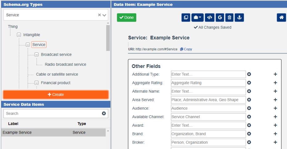 Creating Service Markup in the Schema App Editor