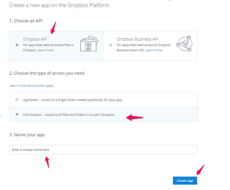How to create API Details on your Dropbox account? : InfiniteWP Support