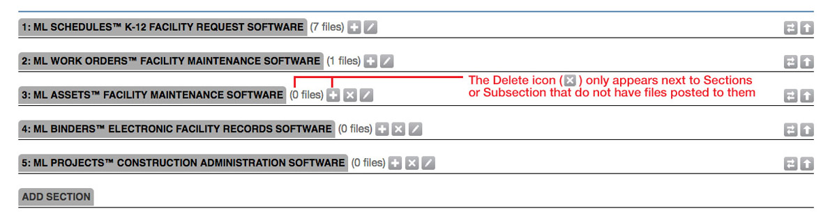 The Delete icon only appears next to sections to which no files have been posted.