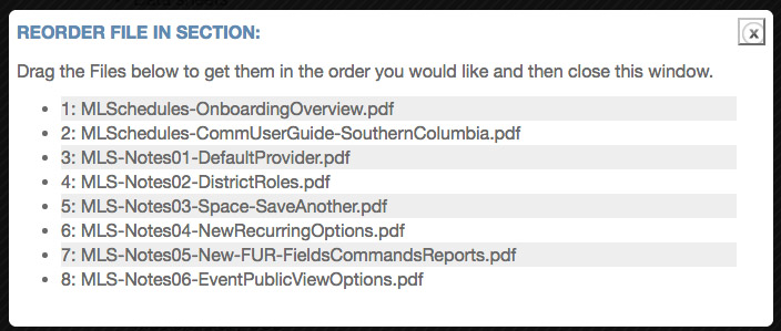 The Reorder Files in a Section window