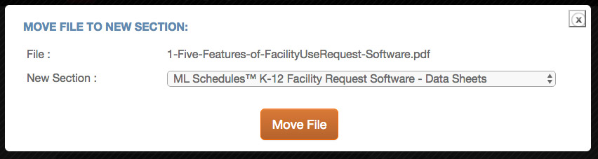 The Move File to a New Section screen