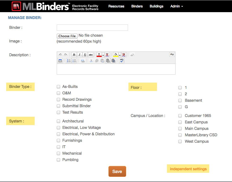 ML Binders Software Manage Binder screen