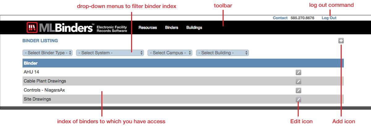 Binder Manager default index screen