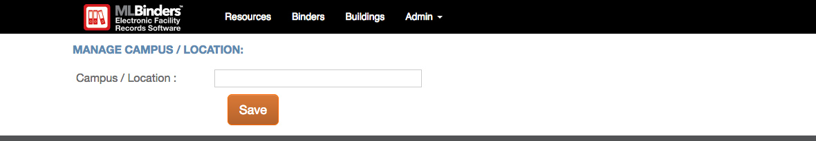 ML Binders Software Add/Edit Campus/Location screen