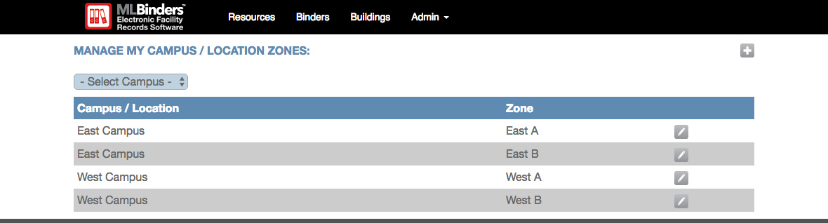 ML Binders Software's Manage Campus/Location Zones screen