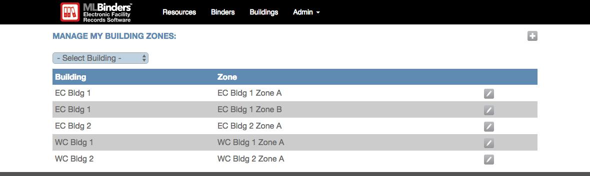 ML Binders Software's Manage Building Zones screen