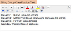 Billing Group Classification Text
