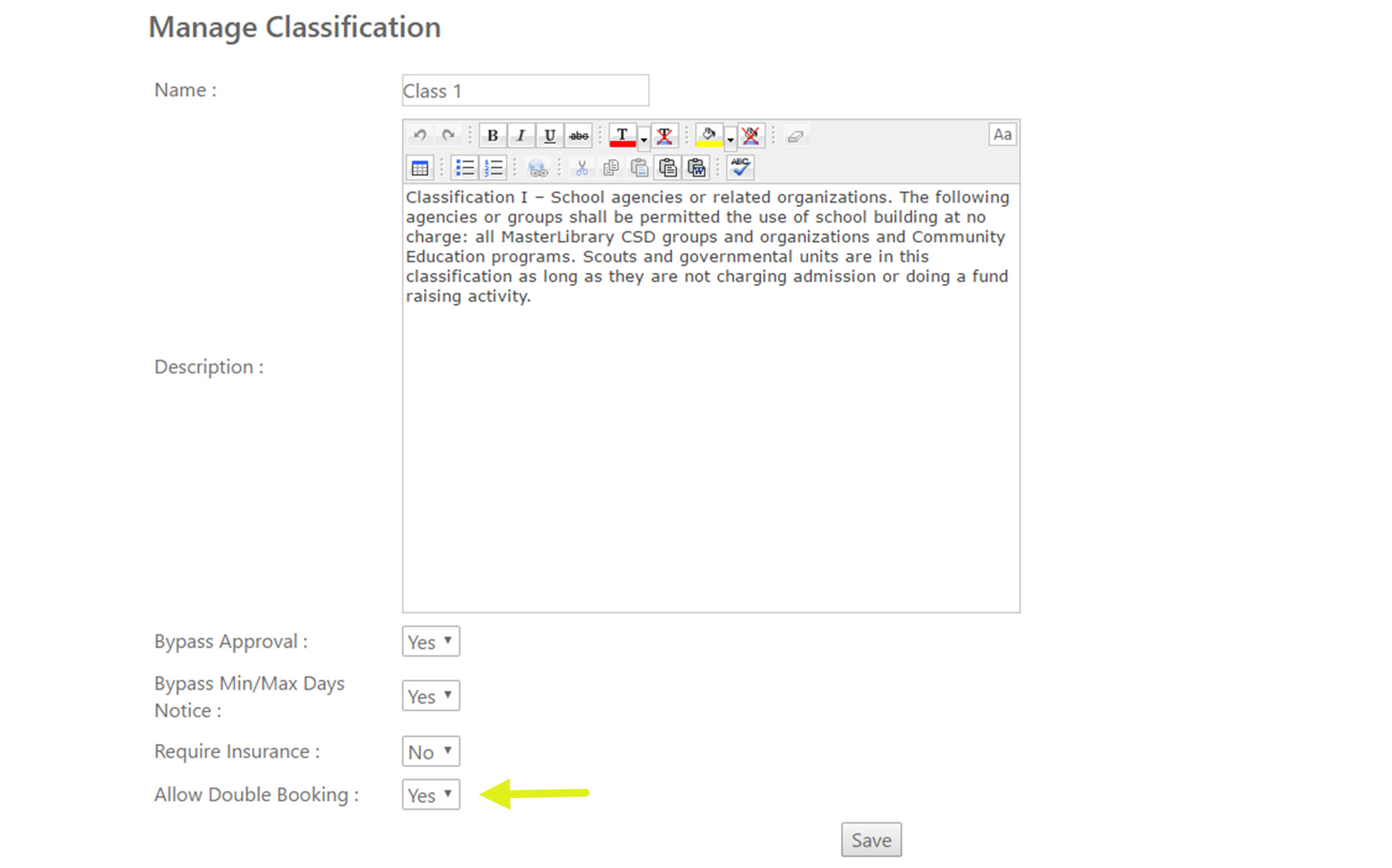 The Manage Classification screen with the Allow Double Booking field highlighted.