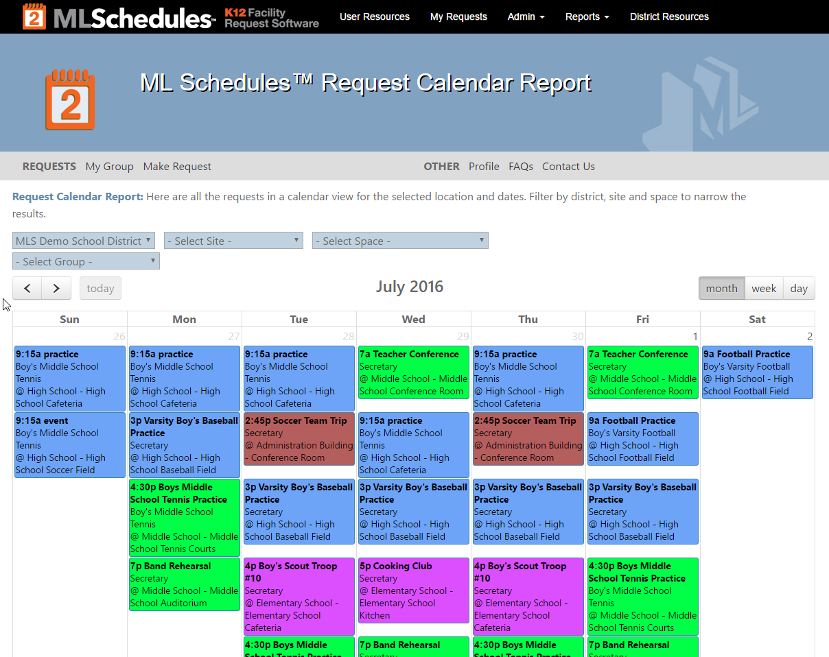 Calendar Report