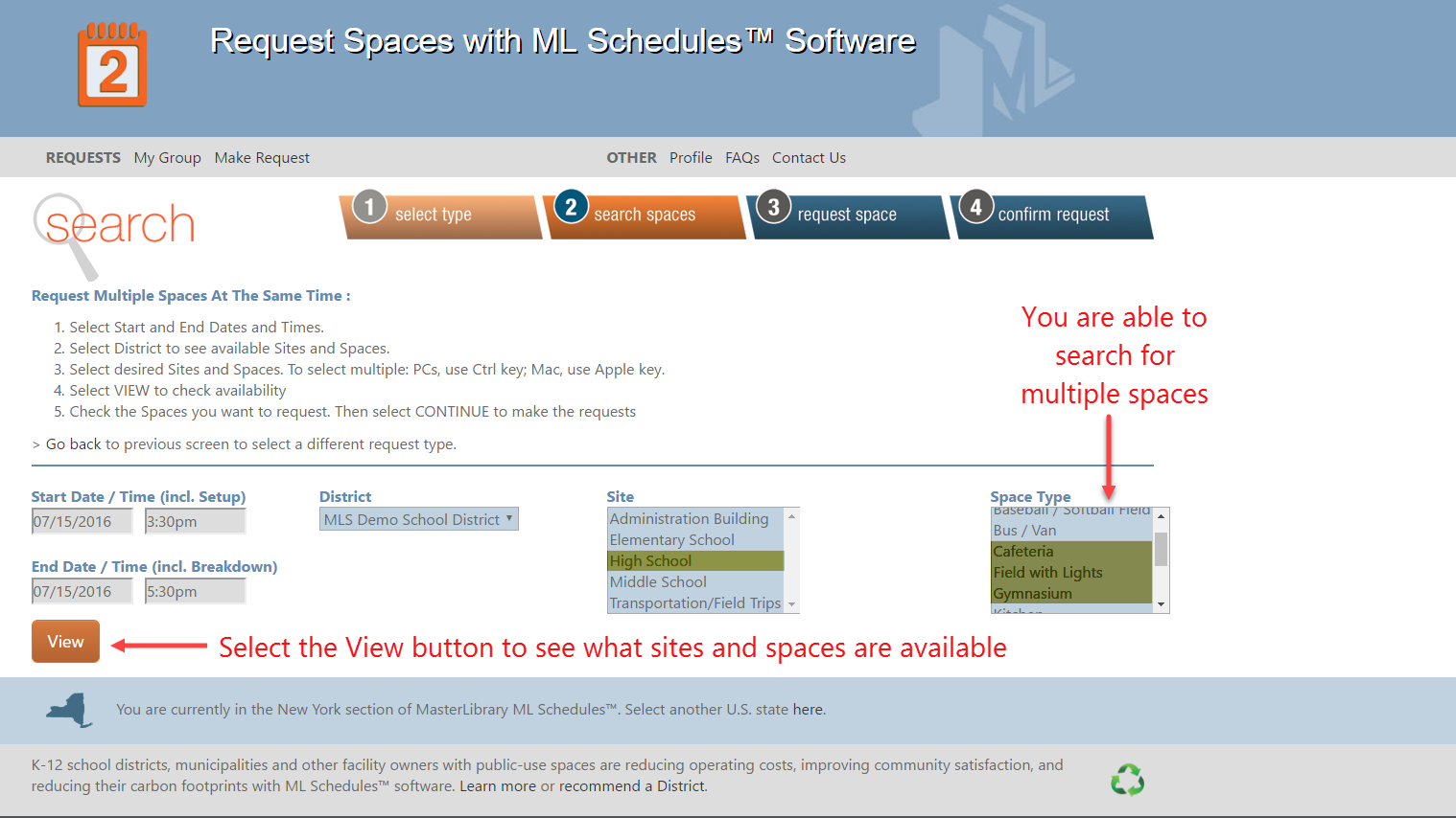search multiple spaces