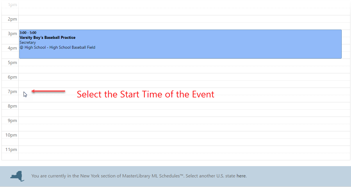 select start time