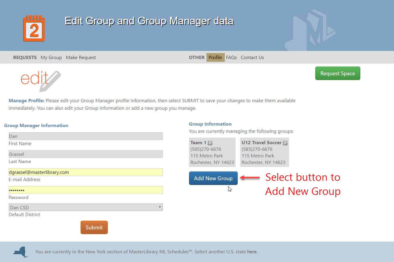 new group button