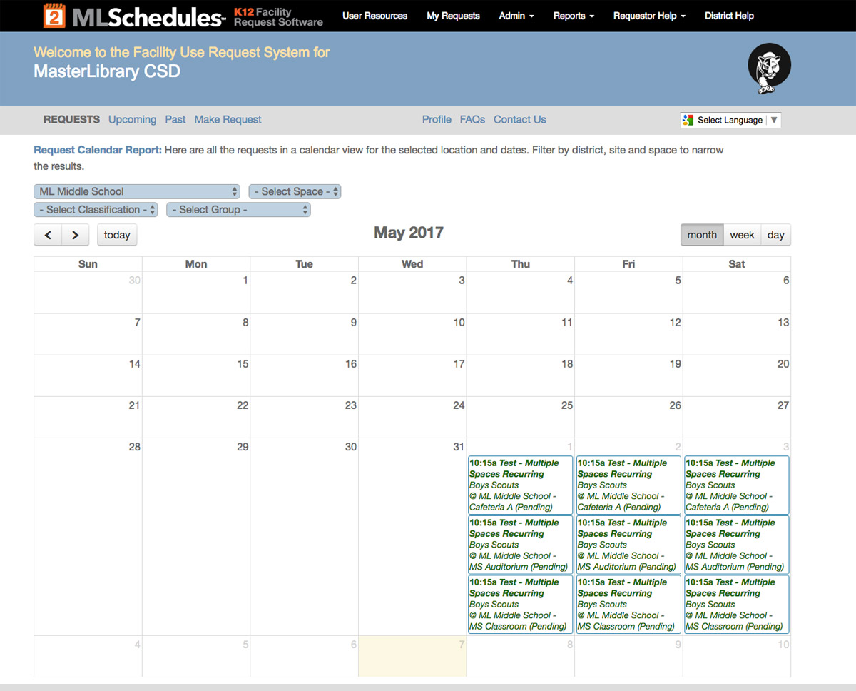 ML Schedules™ Software's Calendar report sample