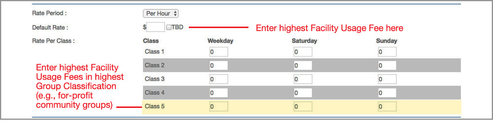 ML Schedules™ Software's Manage Space screen Facility Usage Fee fields.