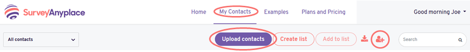 Contacts - upload contacts button