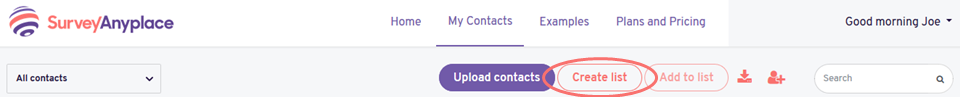 Create contact list