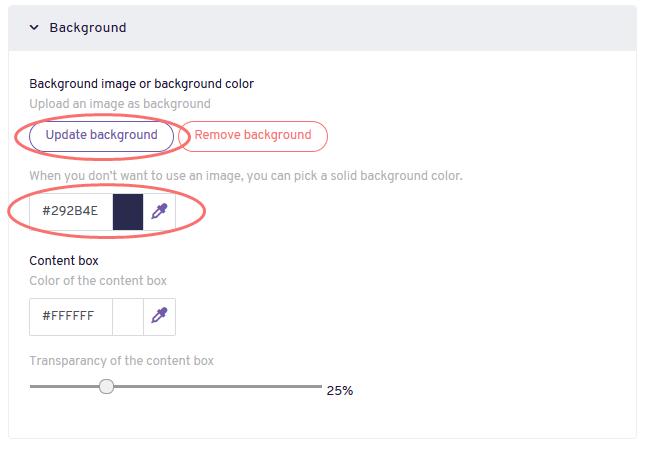 Edit Design - update background color