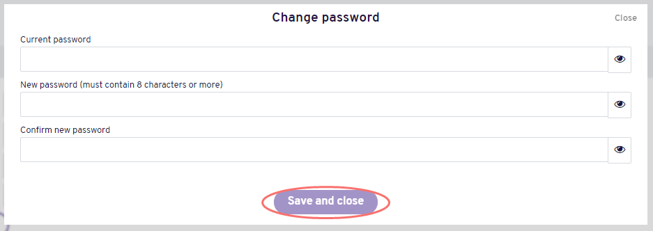 Change email and password - change password window