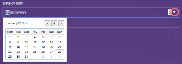 Date calendar - form