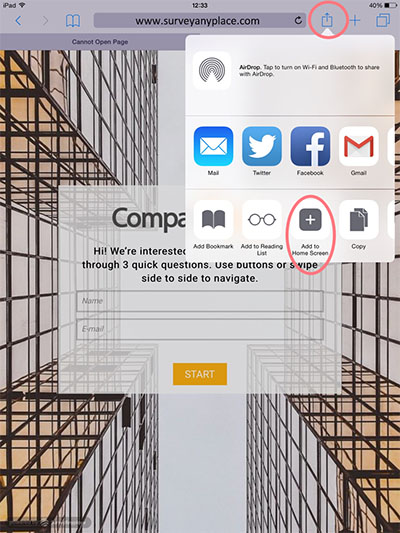 Offline survey tool add to home screen1