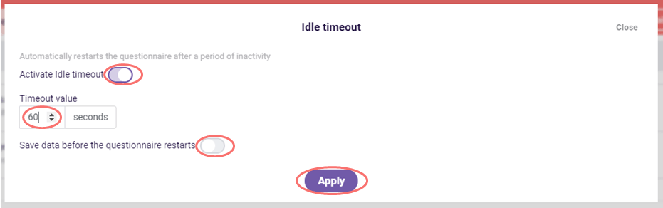 idle timeout settings