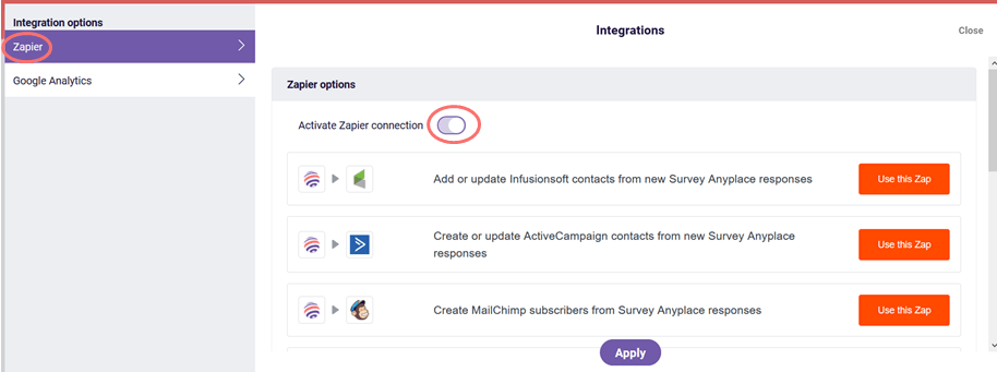 Activate Zapier connection