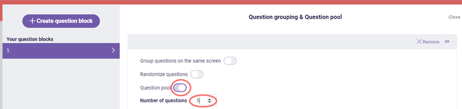 question pool - specify number of questions