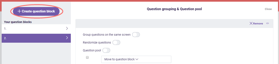 question pool - create question block