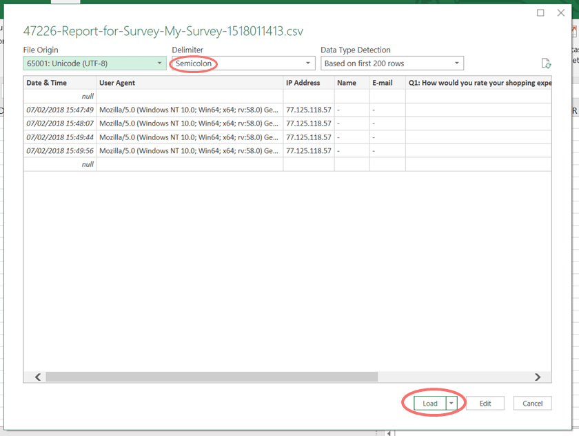 convert CSV to excel semicolon delimiter