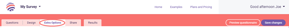 randomize - extra options tab