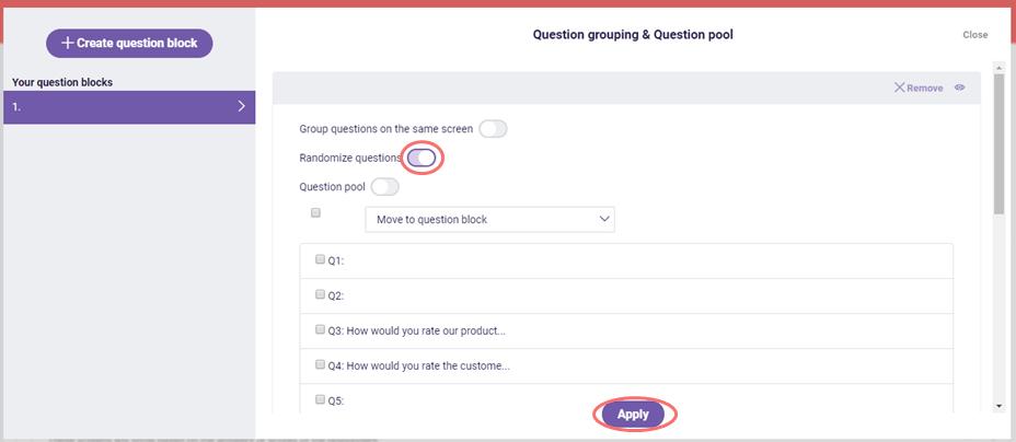 activate randomize questions