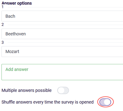 randomize - activate shuffle answers option