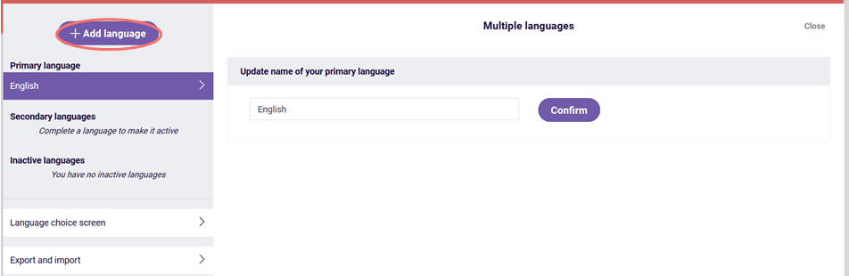 multiple languages add language