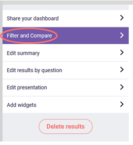 results dashboard filter and compare