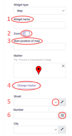 Map widget settings