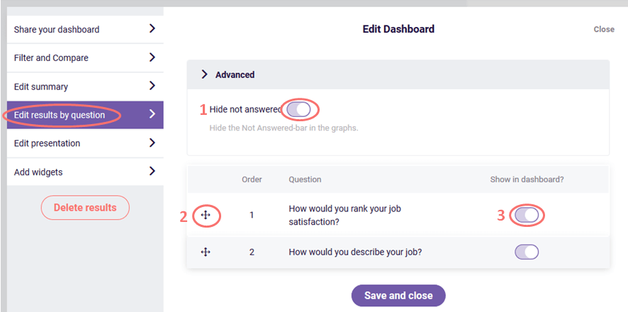 edit results by question - results dashboard
