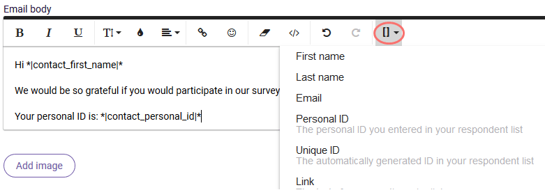 Add variables to email invitation