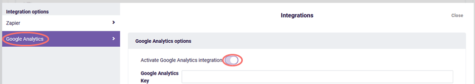 Activate Google Analytics integration