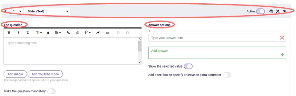 Text slider - change settings