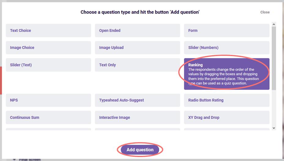 Choose Ranking question - add question