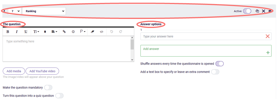 Ranking - change general question settings